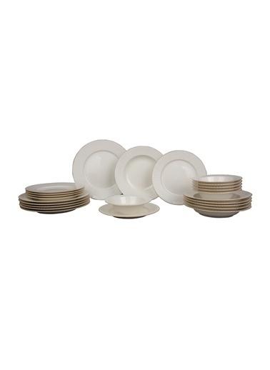 Kütahya Porselen Bone İron 24 Prc Fileli Yemek Seti Renkli
